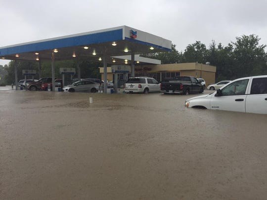 A submerged gas station at the corner of Fortune and
