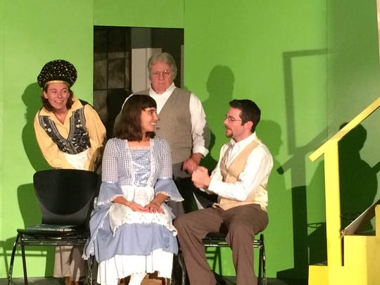 """The Newburgh Community Theater's first show under its own banner is Neil Simon's """"Fools."""" The cast is pictured rehearsing for its Thursday opening."""