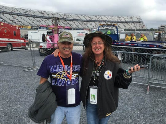 Linda and John Gurley of Greensboro, Md. smile after watching the Xfinity race at Dover on Oct. 2, 2016.