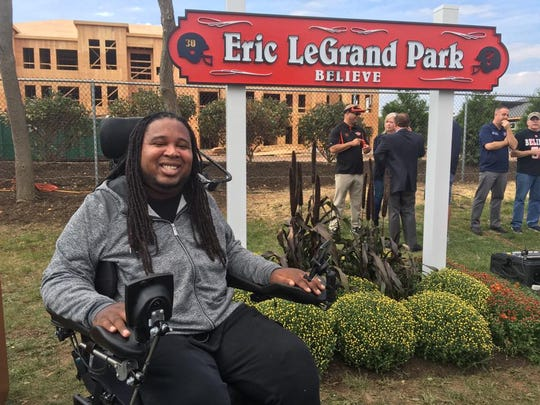 """The 5th District park in the Avenel section of Woodbridge was rededicated as Eric LeGrand """"Believe"""" Park."""