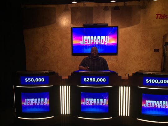 """Before I walked out of the studio I was able to get a photo behind the old """"Jeopardy!"""" podiums. The perks of being the champion."""