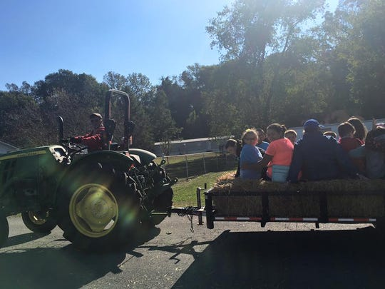 Hayrides provided by the Hagan's were thoroughly enjoyed by UES students.