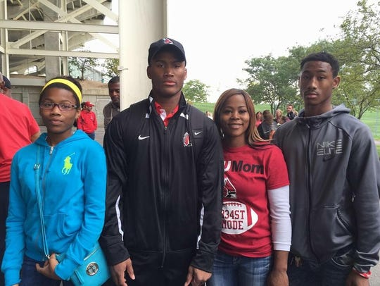 James Gilbert's family at a Ball State football game.