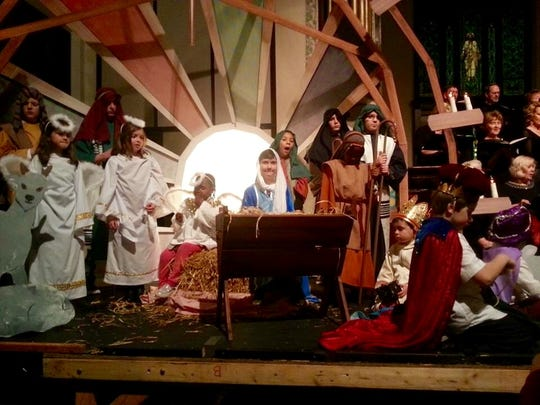 "Children of First Presbyterian Church created a living  Nativity during the Crusade Choir's annual Christmas concert last year. This year, the choir will be performing ""Comfort and Joy"" a mix of contemporary Christmas music and Christmas readings. Shown in the Nativity scene are, left to right, PJ Espelien, Aki Rebeck, Calvin Walters, Bailey Seaman, Nadine Hounkpati, Carerra Walters, Andrew Giese, Colton Walters, Nathan Hounkpati, Gavin Owen, Sawyer Kadlec and Rickie Espelien."