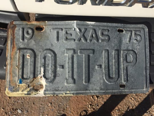 The license plate for Joe Brown's truck could still be found at his Thornberry, Texas, peach orchard, long after the beloved Times Record News columnist passed away.