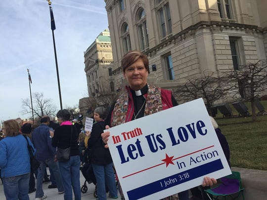 Teri Ditslear, Noblesville, is taking part in the March on Indianapolis, Saturday, Jan. 21, 2017.