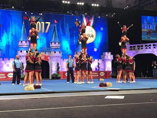 The All-Girl Cheerleading squad placed 12th at the Universal Cheer Association Cheerleading National Championship.