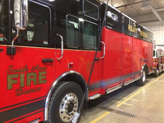 The South Area Fire and Emergency Response District's newest fire truck is displayed in its Weston station, January 30, 2017.