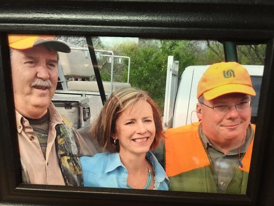 Darrell Coleman (from left), Libby Averyt and Patrick Birmingham, three former publishers and presidents of the Corpus Christi Caller-Times at Kaffie San Diego Ranch.