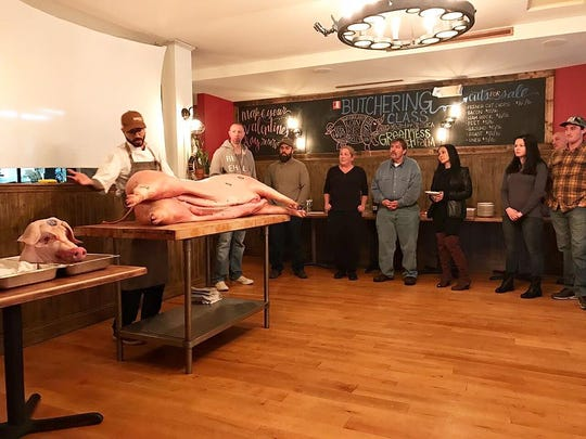 Chef Junior Chamon, owner of Graze Restaurant in Little Silver, leads a butchering class at his farm-to-table restaurant.