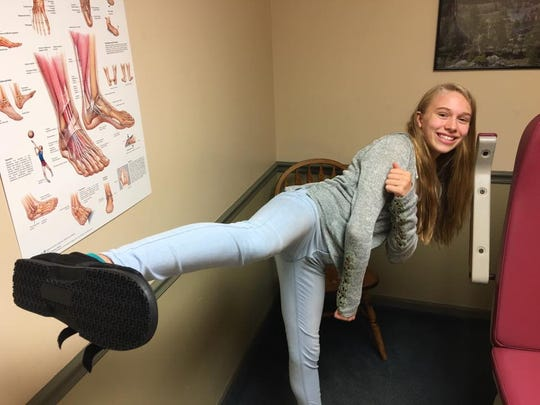 Natalie Hershberger clowns around in the doctor's office