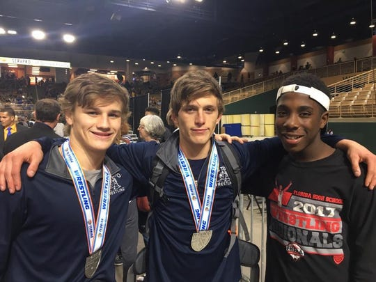 The Estero trio of Brian Opalensky, Kyle Nesbit and Orande Smith delivered strong performances at the state wrestling meet in Kissimmee last weekend. Opalensky placed sixth, Nesbit took second, and the freshman Smith fell one win shy of placing.