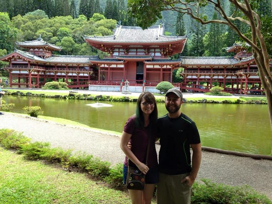 Megan and Brad Perry Buddhist temple in Hawaii last summer