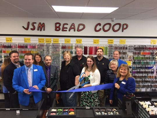 A ribbon-cutting was held March 23 to celebrate JSM Bead Coop's new spot at 1511 S. 12th St., in Sheboygan. Pictured with Betsy Alles, Chamber Executive Director, are Michelle Sohn, assistant store manager; along with Jeff and Bonnie Sohn, owners; Josh Sohn and Chamber ambassadors and supporters.