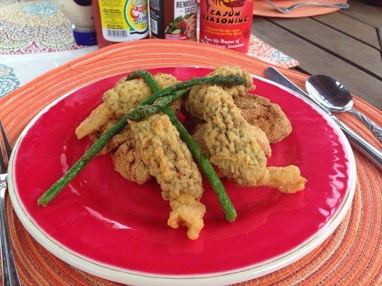 Dana Peterson's fish, asparagus and morels dish.