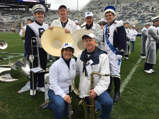 Being part of the Penn State Blue Band has been a tradition for the Frisbies — Front, from left: Ann and Dan; back: Jack, Mike, Floyd, and Jimmy.