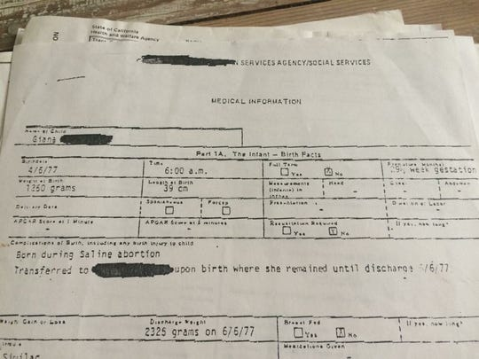 Gianna Jessen's birth certificate is shown. She survived an abortion attempt when her 17-year-old biological mother was 7 1/2 months pregnant. She speaks at St. Cloud State University on Tuesday, April 18.