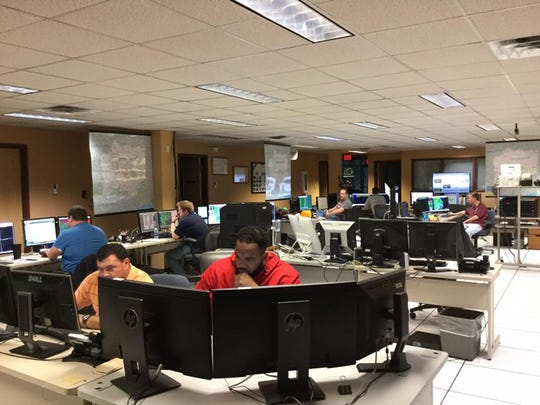 National Weather Service meteorologists working during Sunday's severe weather threat.