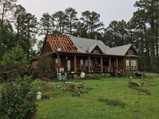 A home in the Oak Grove community was damaged Saturday afternoon by a storm that passed through Natchitoches Parish.