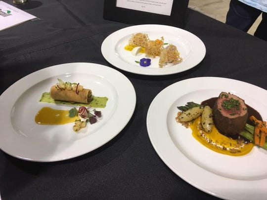 The Okkodo High School ProStart team's menu for the 2017 National ProStart Invitational is shown. The dishes are, from left, Ahi Tuna Poke Spring Roll, Tropical Islands and Chateaubriand.
