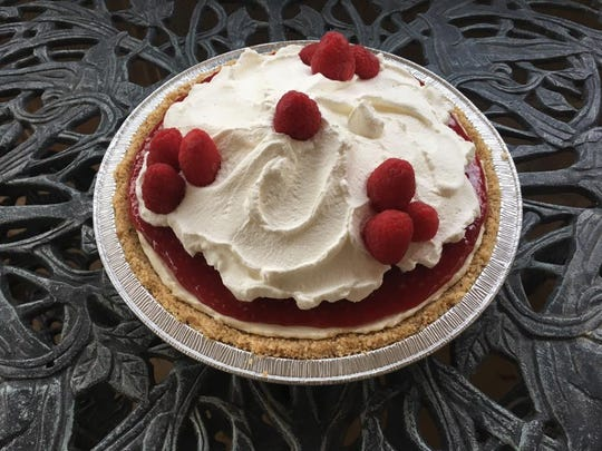 An raspberry cream pie made by Jane Firkin for her