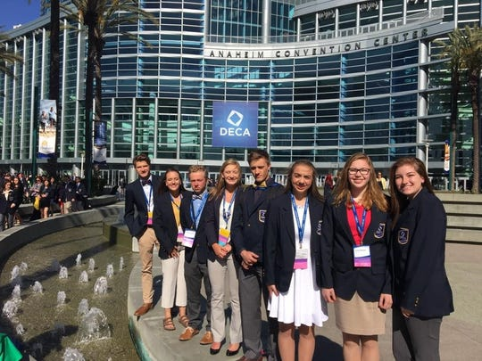 D.C. Everest DECA members stand outside the Anaheim Convention Center during the International Career Development Conference in April.