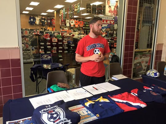 Alex McGee, president of Lebanon Revolution youth soccer club, at a registration event held at Lebanon Valley Mall.