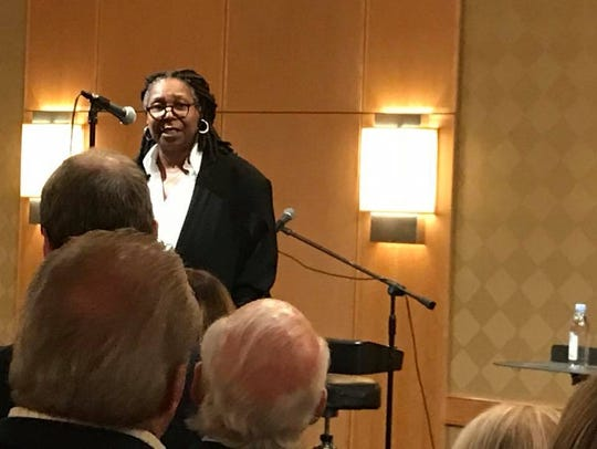 Whoopi Goldberg speaks during a fund-raiser for Democratic