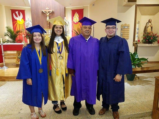 Juan Bernal, 72, received a high school diploma Saturday. His grandchildren, (from left) Katie Baird, Gabrielle Julia Monreal and Roberto Monreal Jr. also graduated Saturday.