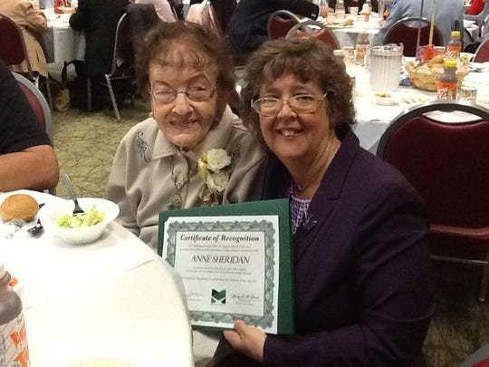 The South Brunswick Senior Center once again was host for the Middlesex County 90+ birthday bash on Thursday, May 25.The seniors enjoyed live entertainment andlunch. A presentation of a corsage andcertificate was made to the two oldest participants. This year, one was Anne Sheridan, of South Brunswick, whowill be 100 in September. She is pictured with Christine Wildemuth, director of the South Brunswick Senior Center.