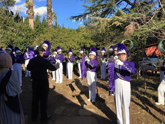 "Shadow Hills High School marching band students perform on set for ""Vireo: The Spiritual Biography of a Witch's Accuser"" in January 2016."