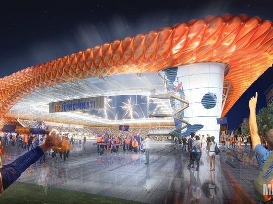 A rendering of Futbol Club Cincinnati's preliminary