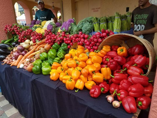 A rainbow selection of fresh fruit and vegetables,