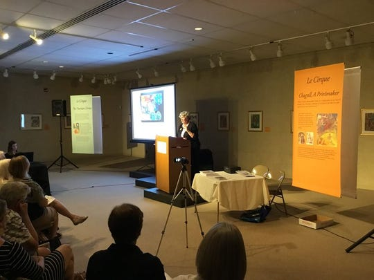 """As part of the kickoff celebration Sunday for the Marc Chagall exhibit at Manitowoc's Rahr-West Art Museum, Vivian R. Jacobson (pictured), author of """"Sharing Chagall: A Memoir,"""" gave a presentation and signed copies of her books."""