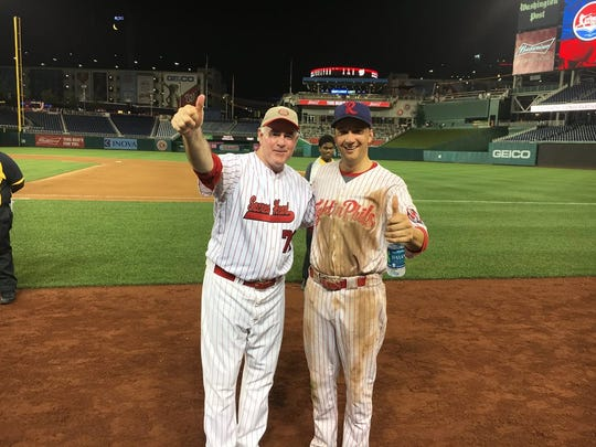 Rep. Ryan Costello (Rt) and Rep. Patrick Meehan after last year's Congressional Baseball Game for Charity.