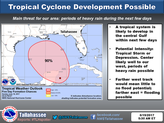 A tropical disturbance is expected to intensify in