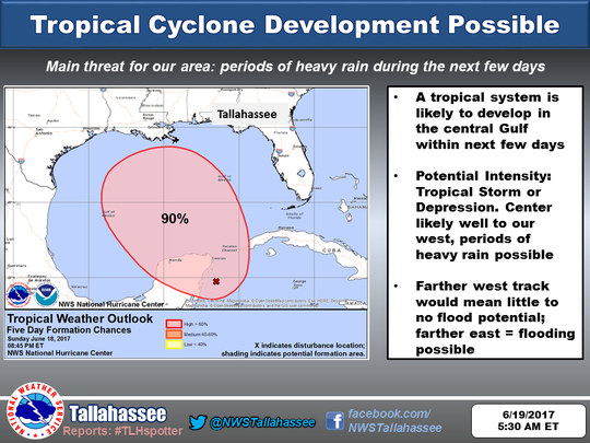 A tropical disturbance is expected to intensify in the Gulf.