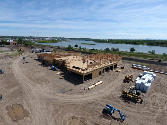 The Marriott SpringHills Suites hotel's structural frame will be completed by the middle of August. Finishes will start in August and continue into November.