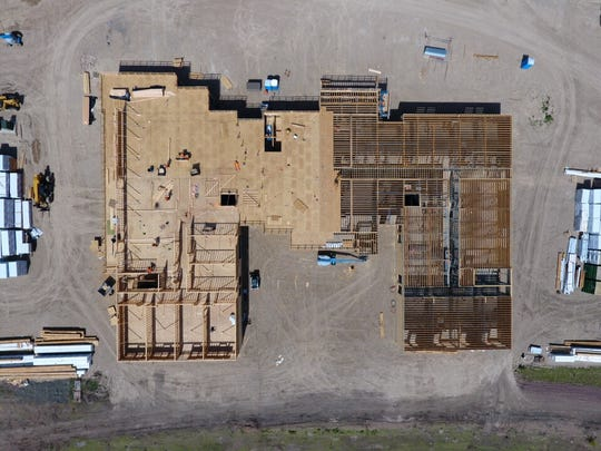 The top view of the Marriott hotel shows how framing and a partial roof have been completed. The hotel could be operational as early as this fall.