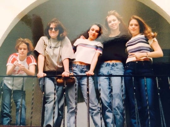 Emily Shields, second from right, is shown in the 1990s with some of her high school friends who trekked from Cedar Rapids to Des Moines in search of adventure.