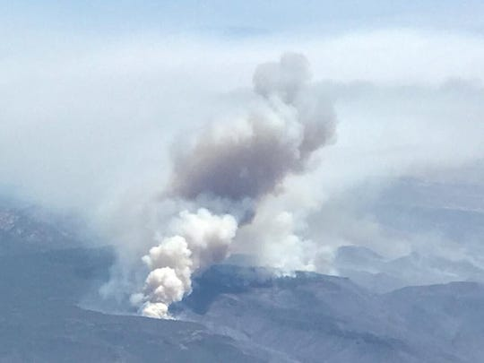 A photo of the Goodwin Fire from an airplane on June