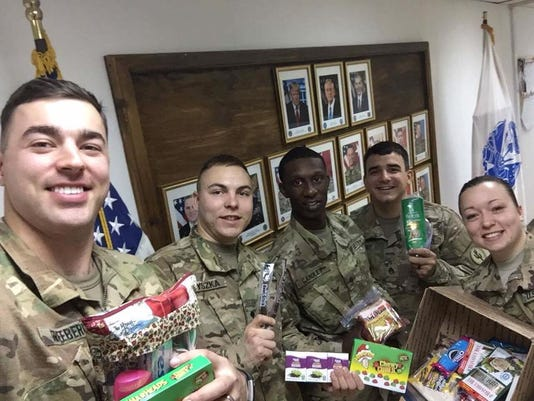 Troops with their care packages