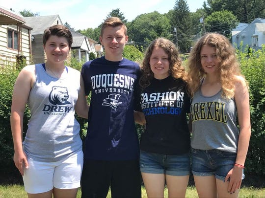 Alexa, Zachary, Lauren and Nicole Fitzgerald, from left, are quadruplets from Woodland Park who attended Passaic Valley High School together. In the fall, they will be going off to college, but different schools.