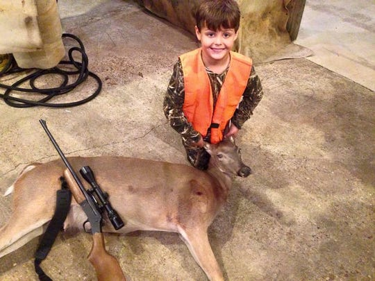 Braxton Mahoney with his first deer in October 2015