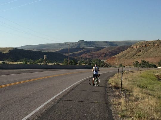 """On the road to Riverton, Wyoming after 79.4 miles with """"more downhills than uphills and more tailwind than headwind."""""""