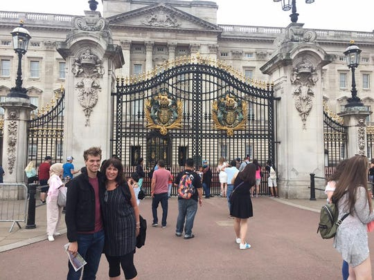 Outside Buckingham Palace, where we watched the Queen's