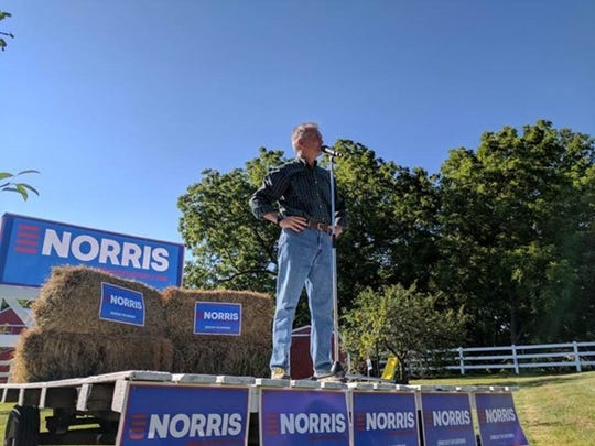 Democrat John Norris announces his campaign for governor in Red Oak on July 8, 2017.