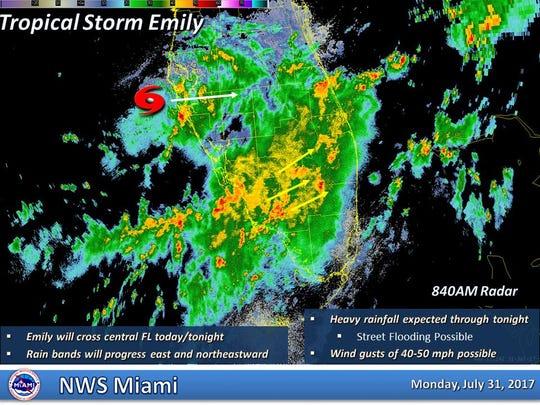 Tropical Storm Emily radar as of 8:40 a.m.