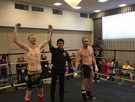 Gabe Schram, left, a kickboxer who trains at Training