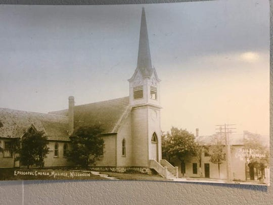 Pictured is St. James' original Main Street, Mosinee, church (1885 to 1916).